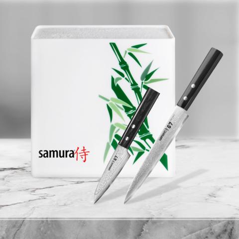 Набор из 2 кухонных ножей Samura 67 Damascus и подставки KBH-101BW