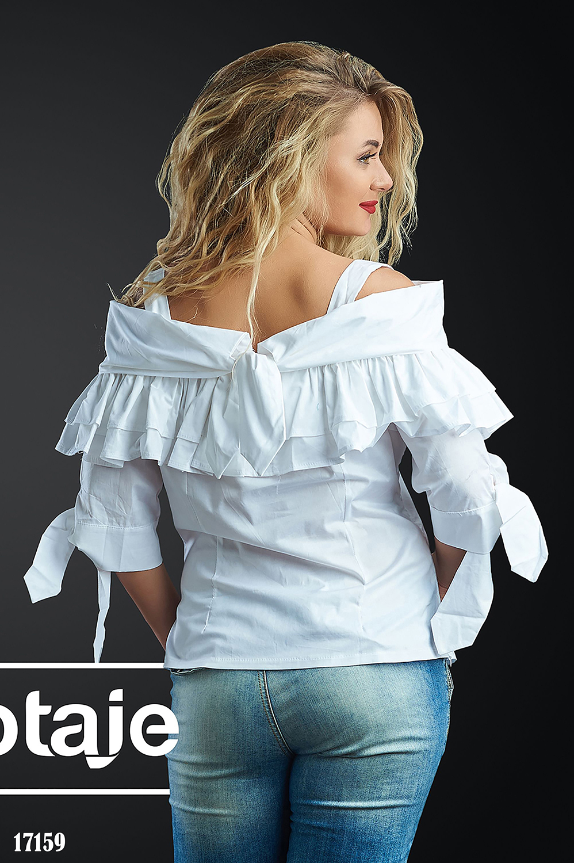 Белая блузка с открытыми плечиками