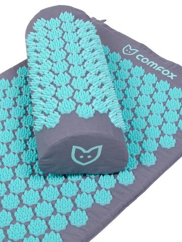 Набор массажный акупунктурный коврик + подушка Comfox (серо-голубой)