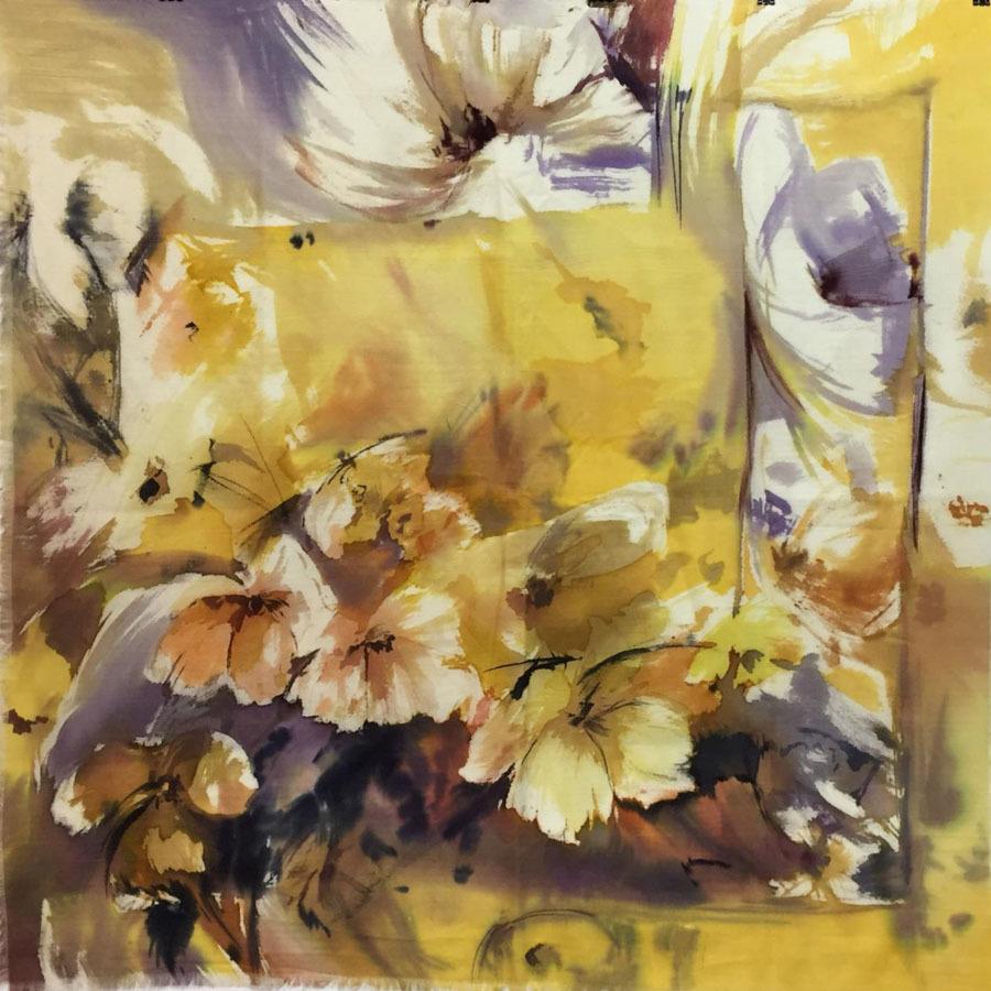 Шерстяной платок батик Солнечные цветы С-74-ш