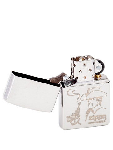 Зажигалка Zippo Cowboy с покрытием Brushed Chrome, латунь/сталь, серебристая, матовая, 36x12x56123