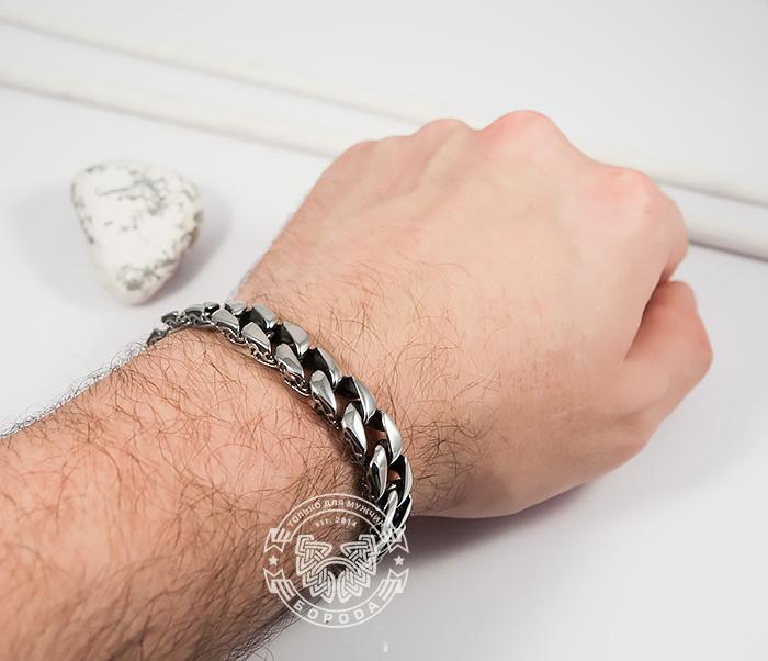 BM387 Стильный мужской браслет из стали с гравировкой на звеньях (21 см) фото 04
