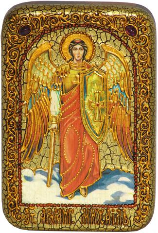 Икона инкрустированная Архангел Михаил 15х10см в подарочной коробке