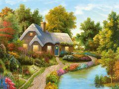 Алмазная Мозаика + Багет 40x50 Уютный домик с садом