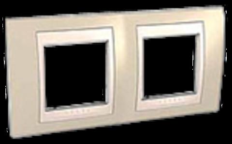 Рамка на 2 поста. Цвет Песчаный/Белый. Schneider electric Unica Хамелеон. MGU6.004.867