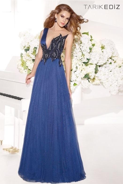 Tarik Ediz 92326 Нарядное платье в пол, верх украшен камнями и вышивкой, юбка длинная и пышная,цвет:синий и красный