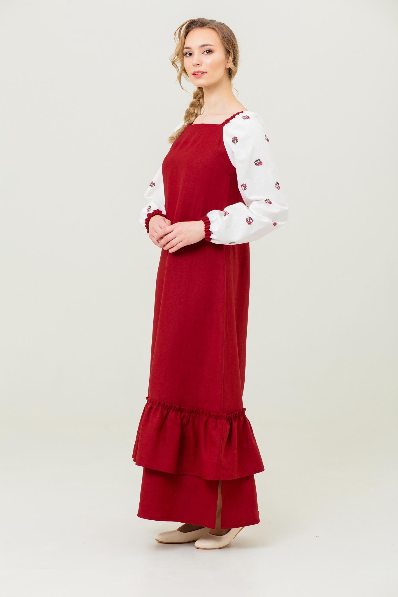 Льняное платье русское народное Алёнушка