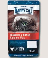 Лакомство для кошек Happy Cat с говядиной и солодом