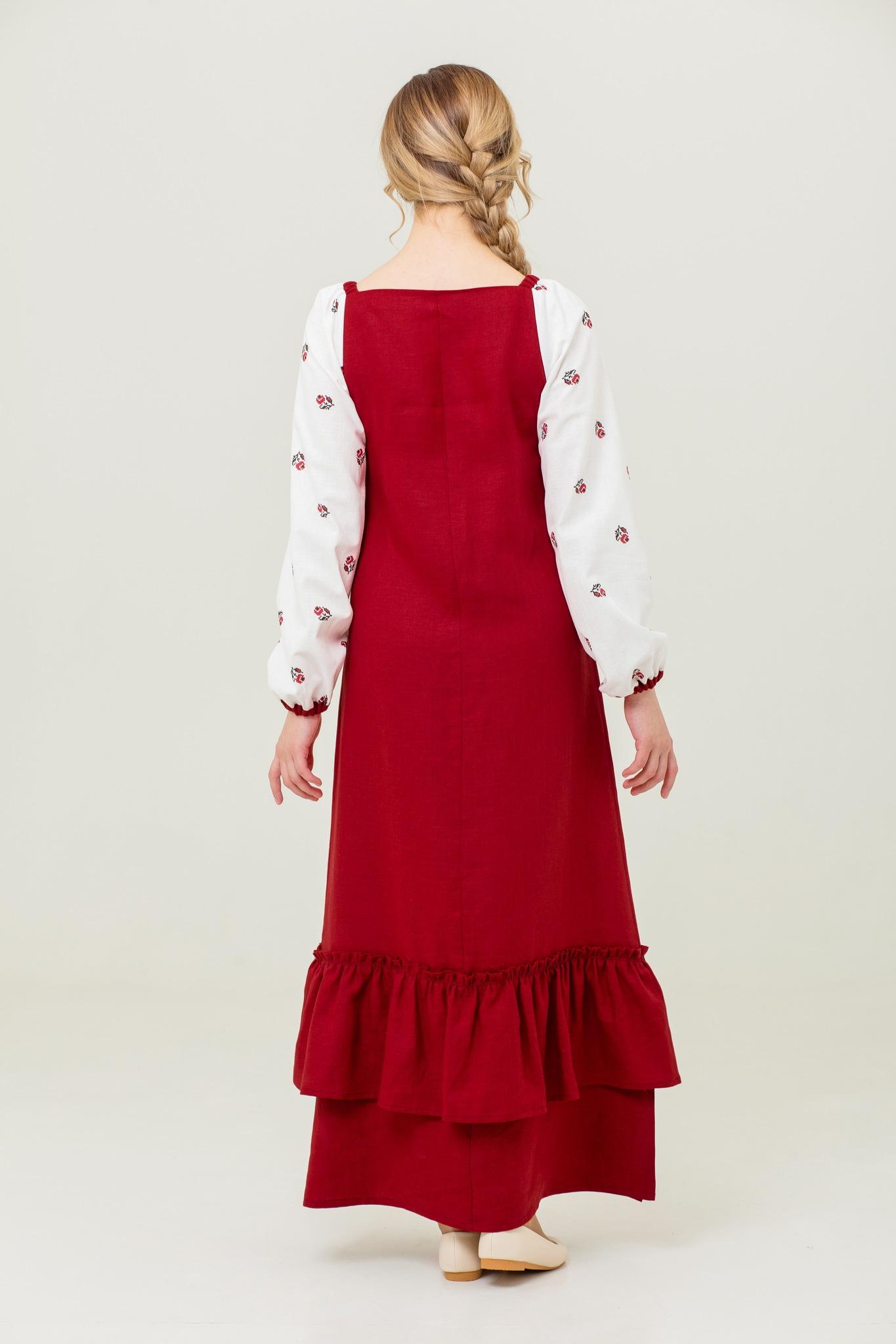 Платье с оборкой из льна Алёнушка