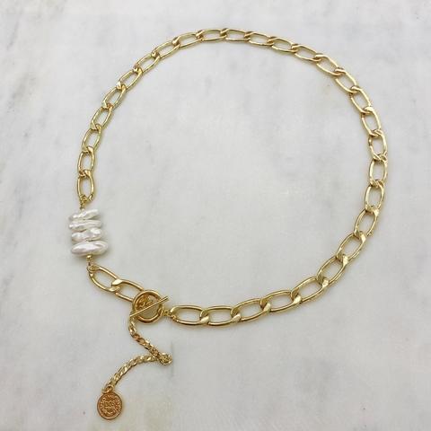 Колье-трансформер с жемчугом, цепью и монеткой (золотистый)