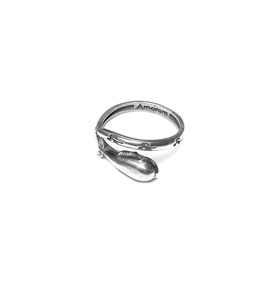 Whale Totem Ring, sterling silver