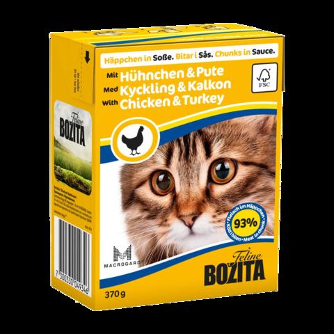 Bozita Консервы для кошек с курицей и индейкой (кусочки в соусе)