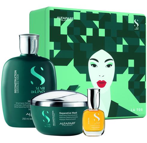 Alfaparf Milano Наборы: Набор для волос SDL Holiday 2020 Reconstruction (шампунь + маска + масло), 250мл+ 200мл+ 15мл
