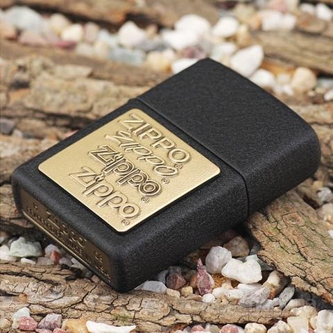 Зажигалка ZIPPO 362 Black Crackle Brass Emblem