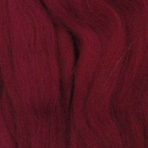 Шерсть для валяния полутонкая 07 бордовый (Пехорка), фото