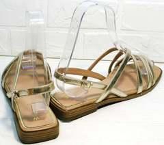 Удобные сандалии женские золотые Wollen M.20237D ZS Gold.