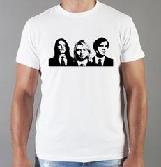 Футболка с принтом Курт Кобейн, Нирвана (Nirvana, Kurt Cobain) белая 006