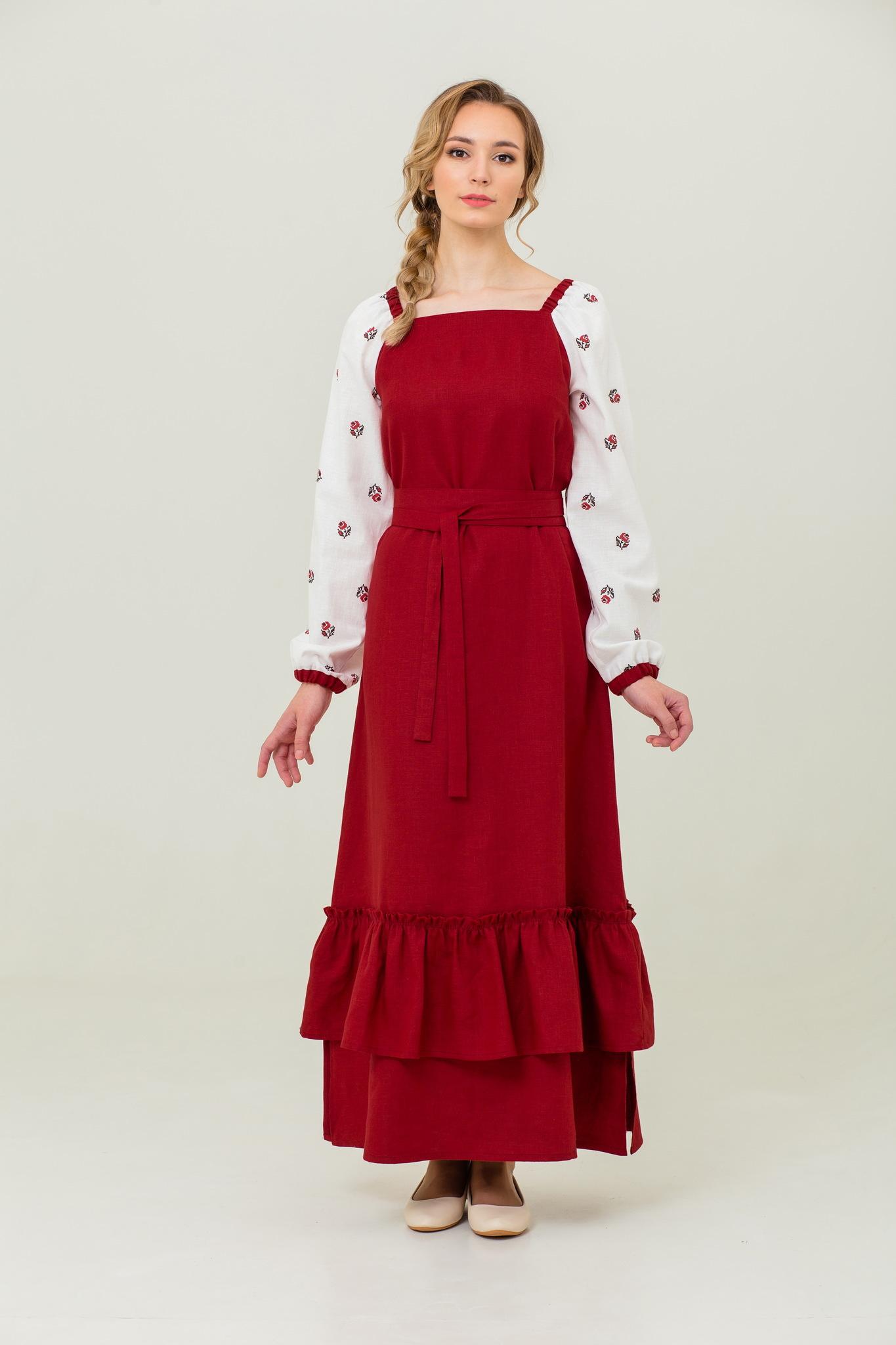 Льняное платье в русском стиле Алёнушка
