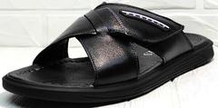 Кожаные шлепки босоножки черные мужские Brionis 155LB-7286 Leather Black.