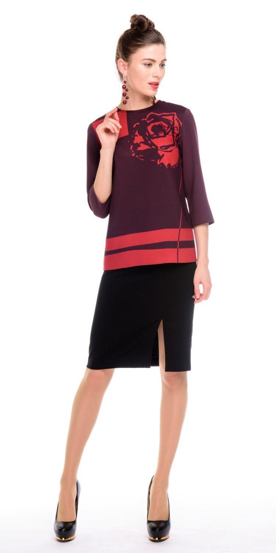 Блуза Г577-370 - Блуза прямого силуэта с оригинальным принтом в виде графичной розы на груди. Отлично смотрится как с классическими так и с повседневными юбками и брюками, а также джинсами. Модель для офиса и на каждый день.