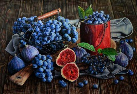 Алмазная Мозаика 40x50 Синие фрукты и ягоды
