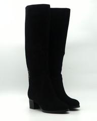 Черные ботфорты из натурального велюра