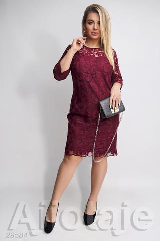 Платье миди бордового цвета с витиеватым узором