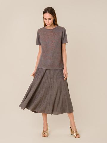 Женская футболка коричневого цвета из вискозы - фото 5