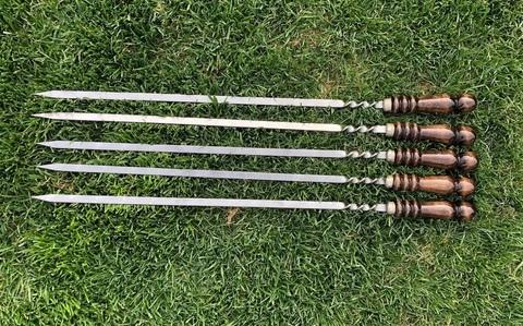 Шампур для люля-кебаб с деревянной ручкой 50 см