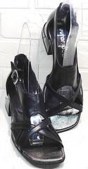 Сандали на каблуке босоножки с квадратным мысом женские Evromoda 166606 Black Leather.