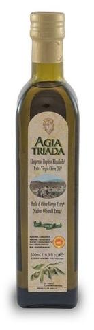 Оливковое масло греческое Agia Triada в стеклянной бутылке 500 мл с острова Крит