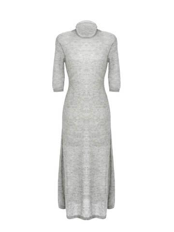 Женское светло-серое платье миди с длинным рукавом - фото 1