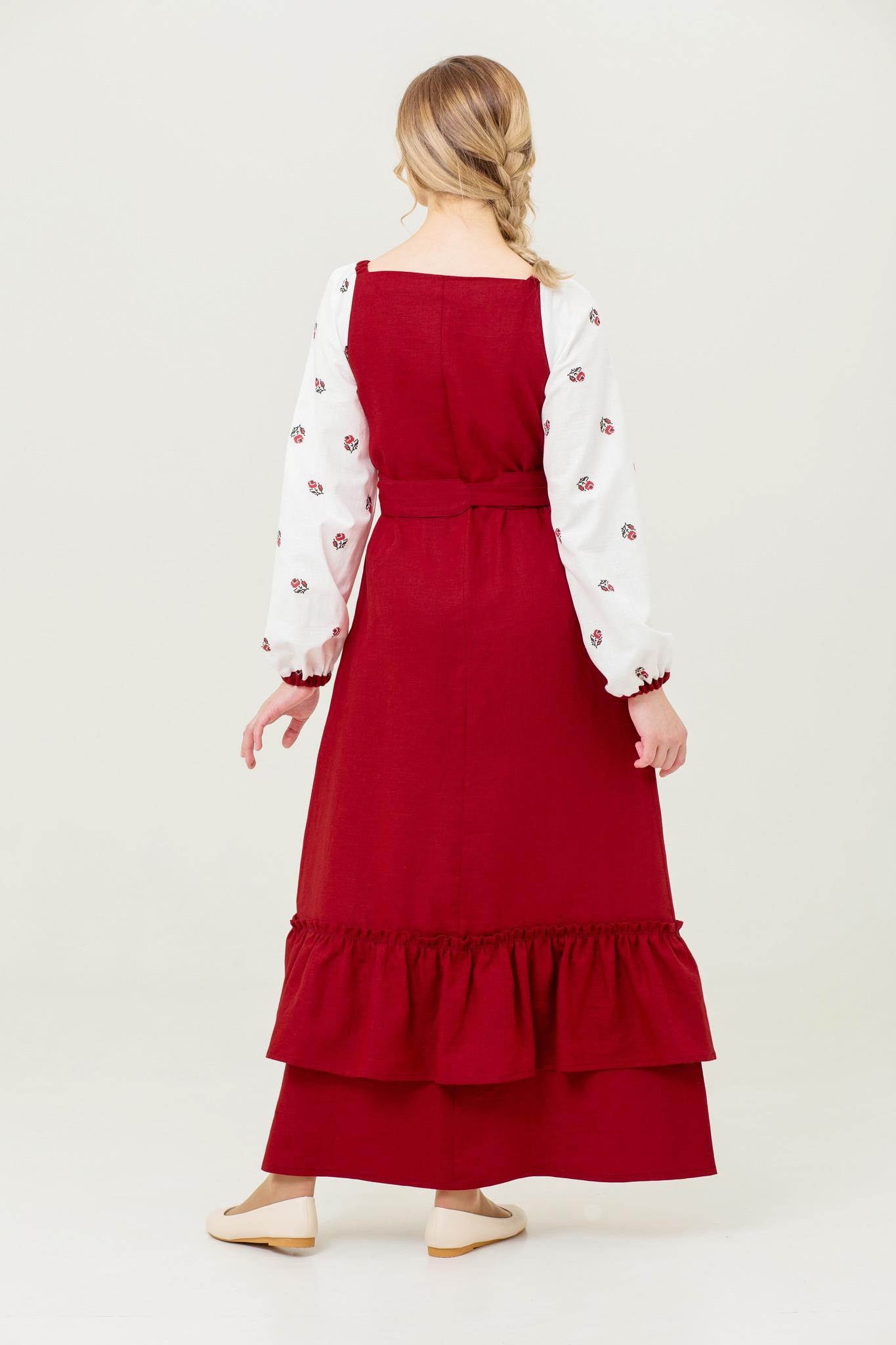 Платье из льна Алёнушка в русском стиле купить