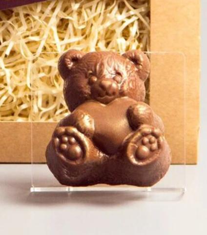 Пластиковая форма для шоколада дет. МИШКА С СЕРДЦЕМ 7см