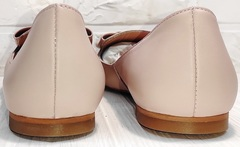 Балетки из мягкой кожи женские туфли без каблука Wollen G192-878-322 Light Pink.
