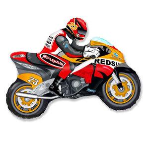 Фольгированный шар Мотоциклист оранжевый 68см X 80см