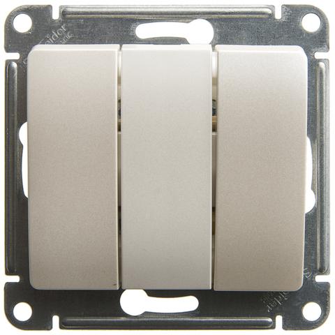 Выключатель трехклавишный, 10АХ. Цвет Перламутр. Schneider Electric Glossa. GSL000631