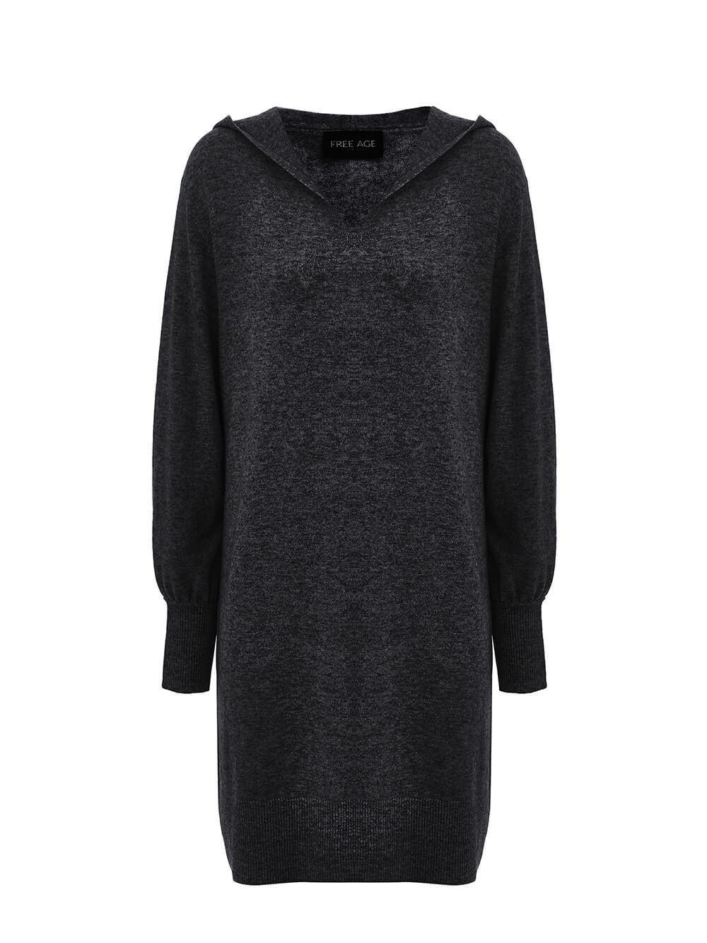 Женское платье черного цвета из шерсти и кашемира - фото 1