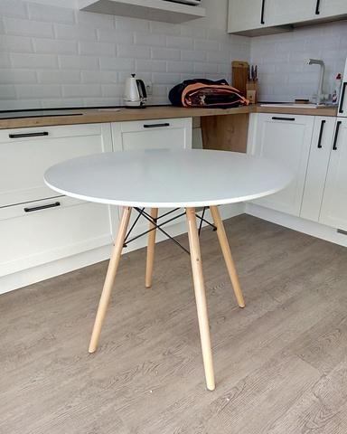 Кухонный интерьерный круглый стол Eames DSW Eiffel, MDF (D80/90/100см), цвет белый