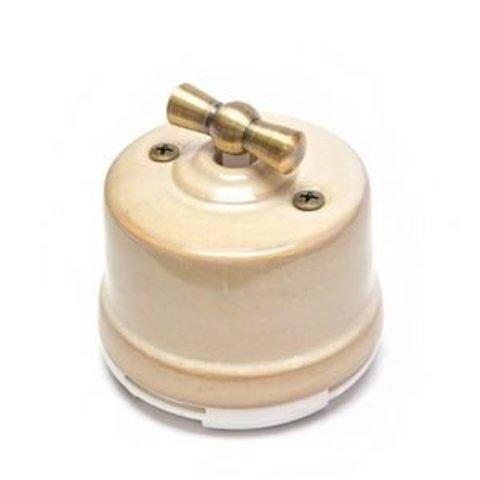 Выключатель одноклавишный проходной, для наружного монтажа. Цвет Бежевый. Salvador. OP11GD