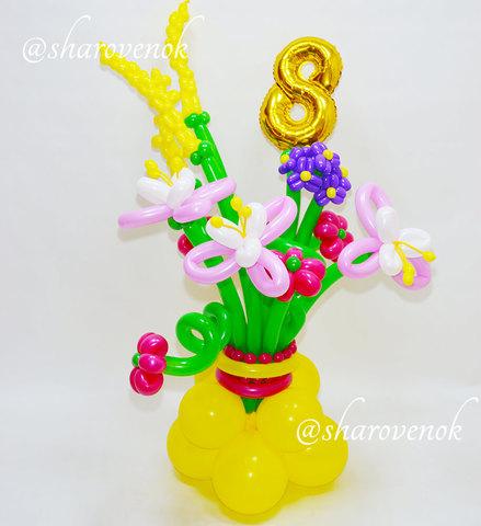 Клумба цветов из шариков