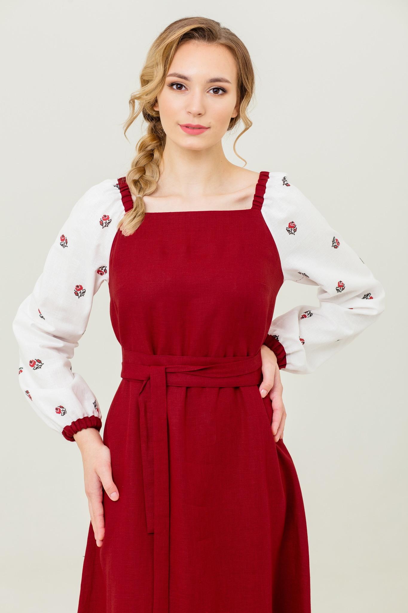 Славянское платье из льна с доставкой