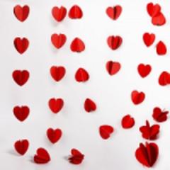 Подвеска Сердца, Красный, 200см