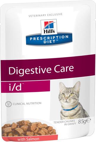 купить хиллс Hill's™ Prescription Diet™ Pauch Feline i/d™ Digestive Care with Salmon пауч (влажный корм) для кошек старше 3-х недель, диетический рацион при заболеваниях ЖКТ