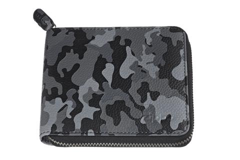 Кошелёк Zippo, серо-чёрный камуфляж, натуральная кожа, 12×2×10,5 см