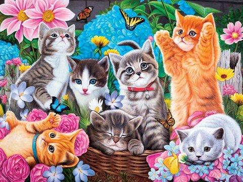 Картина раскраска по номерам 30x40 Веселые котята