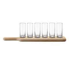Набор из 6 стопок и деревянной подставки Paddle, 40 см, прозрачное стекло, фото 1