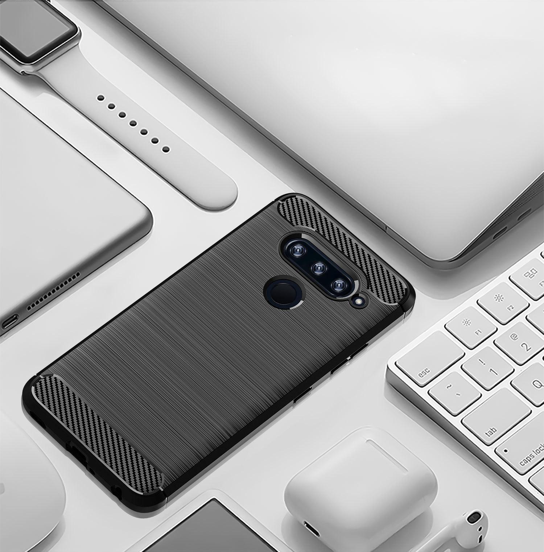 Чехол для LG V40 ThinQ цвет Black (черный), серия Carbon от Caseport