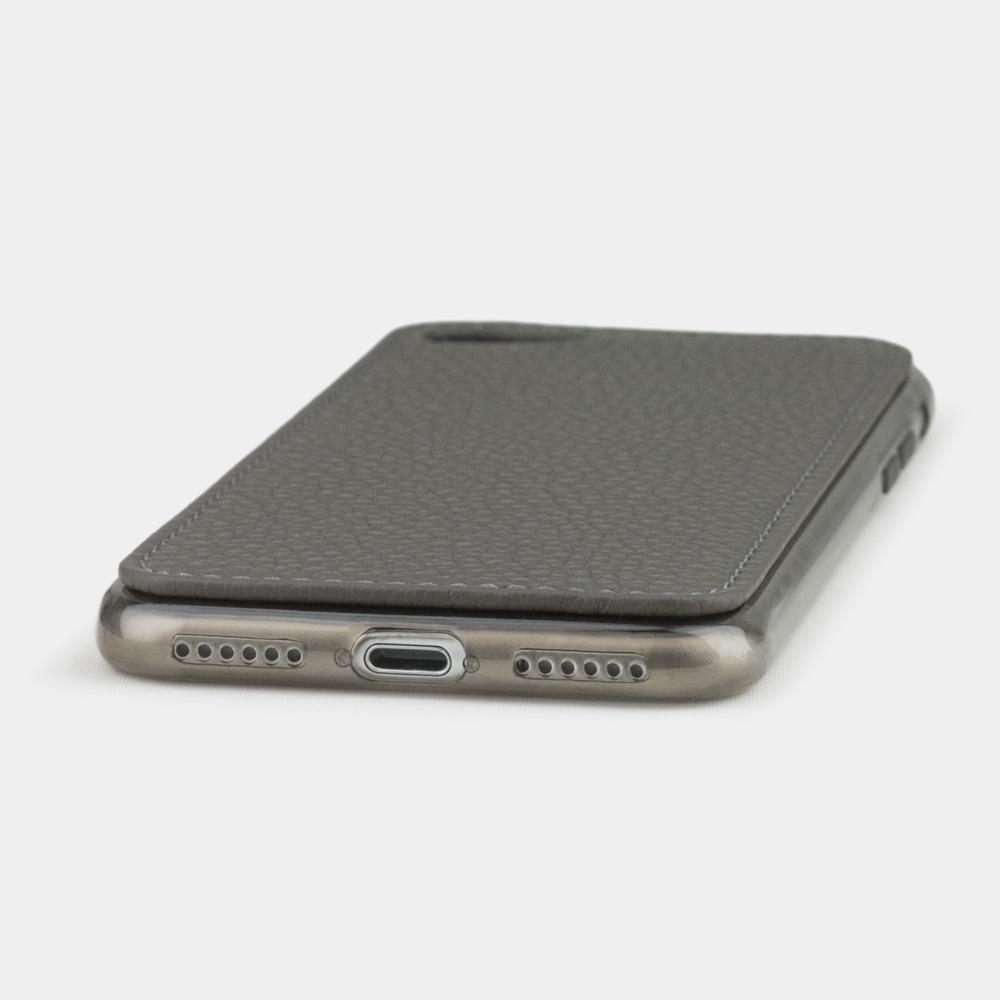 Чехол-накладка для iPhone 8/SE из натуральной кожи теленка, серого цвета