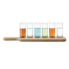 Набор из 6 стопок и деревянной подставки Paddle, 40 см, прозрачное стекло, фото 2